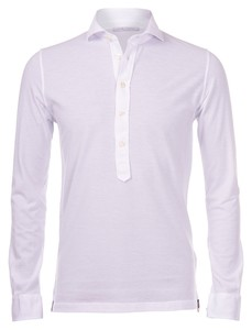 Gran Sasso Five-Button Piqué Polo Poloshirt White