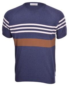 Gran Sasso Fresh Cotton Striped Knit Shirt T-Shirt Blauw