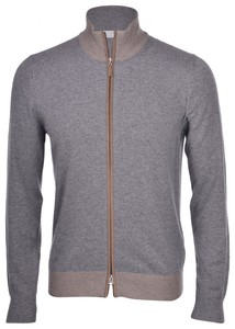 Gran Sasso Full Zip Alcantara Profiles And Patches Cardigan Grey