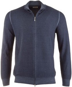 Gran Sasso Full Zip Fine Grain Cardigan Denim Blue