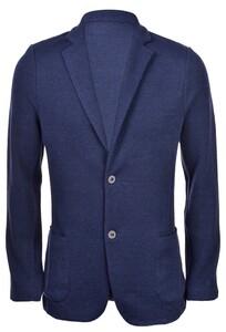 Gran Sasso Knit Jacket Piquet Stitch Vest Blauw