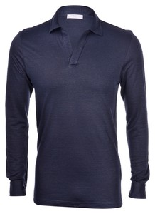 Gran Sasso Linen Long Sleeve Poloshirt Blue Navy