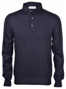 Gran Sasso Long Sleeve Wool Polo Blue Navy