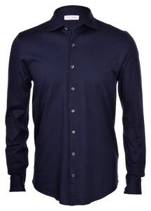 Gran Sasso Mercerized Cotton Uni Overhemd Blue Navy