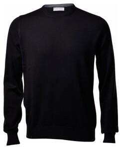 Gran Sasso Merino Extrafine Crew Neck Fashion Pullover Black