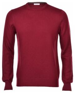 Gran Sasso Merino Extrafine Crew Neck Fashion Pullover Burgundy Red