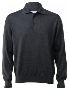 Gran Sasso Merino Extrafine Polo Sweater Pullover Charcoal
