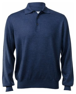 Gran Sasso Merino Extrafine Polo Sweater Pullover Denim Blue
