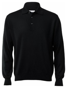 Gran Sasso Merino Extrafine Polo Sweater Trui Zwart