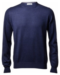 Gran Sasso Merino Extrafine Ronde Hals Fashion Trui Denim Blue
