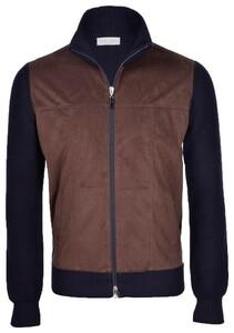 Gran Sasso Merino Wool Alcantara Full Zip Vest Donker Blauw-Bruin