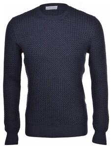 Gran Sasso Mini Weave Effect Extrafine Merino Trui Donker Blauw