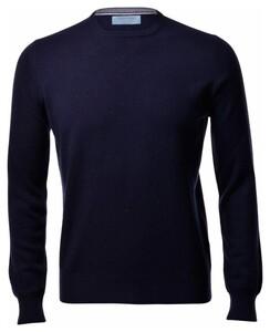 Gran Sasso Pure Cashmere Crew Neck Pullover Blue Navy