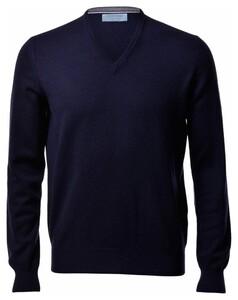 Gran Sasso Pure Cashmere V-Neck Pullover Blue Navy
