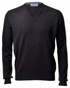 Gran Sasso Pure Cashmere V-Neck Pullover Charcoal