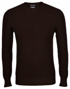 Gran Sasso Rain Wool Idro Stop Merino Extrafine Pullover Dark Brown Melange