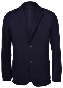 Gran Sasso Travel Wool Knit Jacket Colbert Navy