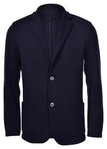 Gran Sasso Travel Wool Knit Jacket Extrafine Merino Jacket Blue Navy
