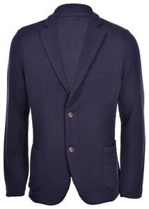 Gran Sasso Travel Wool Oxford Knit Jacket Colbert Navy