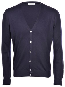 Gran Sasso Uni Button Merinowol Extrafijn Vest Navy