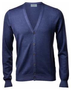 Gran Sasso Vintage Délavé Extrafine Merino Cardigan Cardigan Denim Blue