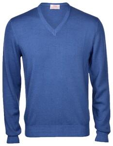 Gran Sasso Vintage Délavé Merino V-Neck Pullover Azure
