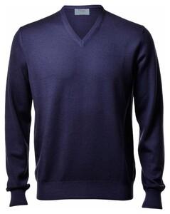 Gran Sasso Vintage Délavé Merino V-Neck Pullover Blue