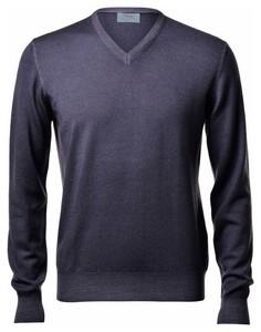 Gran Sasso Vintage Délavé Merino V-Neck Pullover Bluegrey