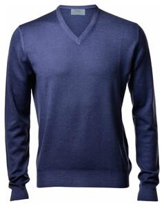 Gran Sasso Vintage Délavé Merino V-Neck Pullover Denim Blue