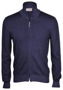 Gran Sasso Vintage Full Zip Extrafine Merino Cardigan Blue