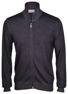 Gran Sasso Vintage Full Zip Extrafine Merino Vest Charcoal