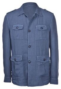 Gran Sasso Vintage Linnen Sahariana Vest Denim Blue