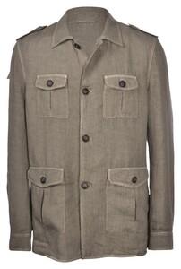 Gran Sasso Vintage Linnen Sahariana Vest Military Green
