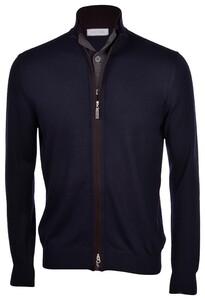 Gran Sasso Zull Zip Button Merino Wool Extrafine Cardigan Navy