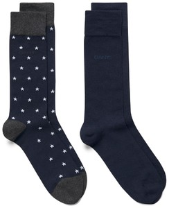 Gant 2Pack Stars and Solid Socks Navy