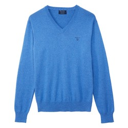 Gant Cotton V-Neck Blue Melange