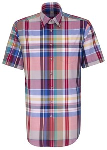 Jacques Britt Short Sleeve Check Rood