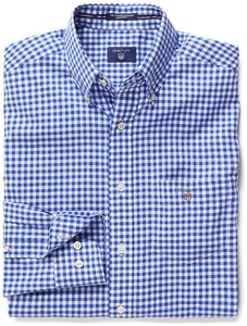 Gant The Poplin Gingham Check Donker Blauw