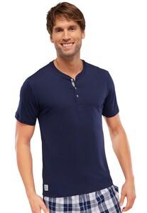 Schiesser Mix & Relax T-Shirt Knoopjes Donker Blauw