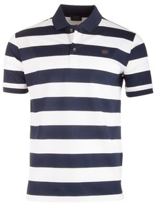 Paul & Shark Organic Cotton Double Mercerized Barstripe Polo Blauw-Wit