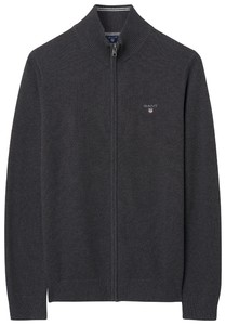Gant Cotton Piqué Zipper Vest Antraciet Melange
