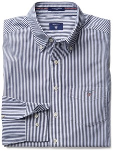 Gant Popeline Striped Fitted Banker Shirt Donker Blauw