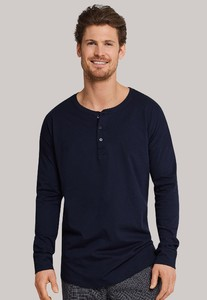 Schiesser Mix & Relax Cotton T-Shirt Knoopjes Dark Evening Blue