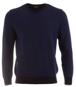 Paul & Shark Two-Tone Cool-Touch Barley Grain Wool V-Neck Blauw