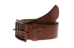 Lindenmann Ribbed Leather Belt Cognac