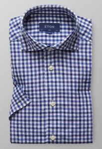Eton Short Sleeve Check Diep Blauw