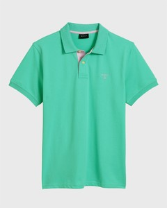 Gant Contrast Collar Piqué Pool Green