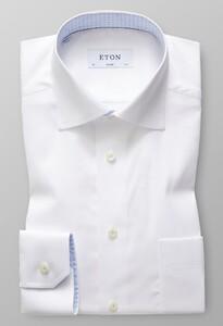 Eton Uni Twill Paisley Detail Wit