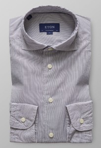 Eton Striped Micromodal Grijs