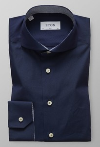Eton Slim Poplin Uni Micro Contrast Donker Blauw Melange